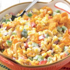 Mexican Corn Salad. My husband has an Aunt that makes this dish and it is SUBLIME. You wouldn't think so but it's not the same without the chili cheese Fritos.