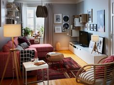 Here's how to create a warm, inviting and cosy living room that has smart storage, comfy materials and lighting. Visit IKEA to explore our living room solutions. Ikea Living Room, Living Room Storage, Small Living Rooms, Living Room Furniture, Living Room Designs, Furniture Decor, Salons Cosy, Ikea Inspiration, Furniture Inspiration