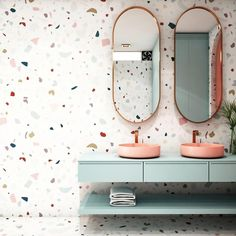 Terrazzo wallpaper is a more cost effective alternative to tiles, and still gives the same modern, arty style. Terrazzo is bang on trend this year and we're already seeing it everywhere! Terrazzo, Bad Inspiration, Bathroom Inspiration, Modern Bathroom, Small Bathroom, Basement Bathroom, Wall Paper Bathroom, Pastel Bathroom, Modern Sink