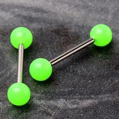 "1 PIECE 14g 1 1//2/"" Bio Flex Flexible Industrial Dice Ear Barbell 6MM Balls"