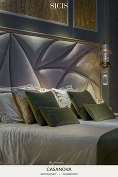 Casanova headboard is formed by a bed frame covered with shining nabuk leather… Luxury Bedroom Design, Bedroom Bed Design, Modern Bedroom, Bedroom Decor, Bedroom Furniture Makeover, Bed Furniture, Furniture Design, Bed Headboard Design, Headboards For Beds