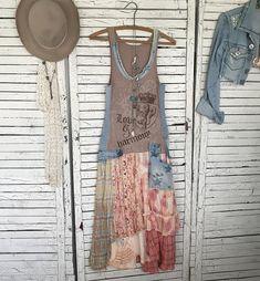 Boho Tank Top Dress S/M Distressed Jeans Decor Junk Gypsy