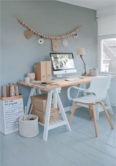 White and wood home office