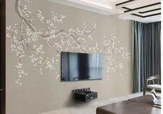 One Large Crooked Cherry Branch Wallpaper Wall Mural, Abstract Cherry Blossom Flowers and Birds Chinoiserie Wall Mural Wall Decor Wallpaper Wall, Chinoiserie Wallpaper, Wall Stickers Vines, Embossed Fabric, Open Wall, Cherry Blossom Flowers, Cleaning Walls, Make Design, Decorating Your Home