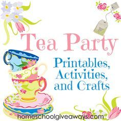Free Tea Party Printables, Activities and Crafts - Birthdays - Tea Party Games, Tea Party Theme, Tea Party Birthday, Party Themes, Party Ideas, Tea Party Activities, Tea Party Crafts, Art Party, Tea Party Foods