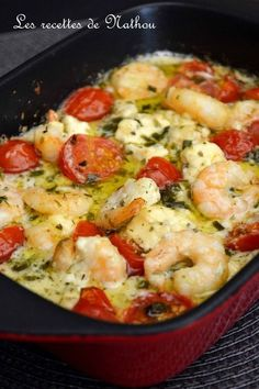 My cooking over my ideas .: Scampi with garlic, feta and cherry tomatoes .- My cooking over my ideas …: Scampi with garlic, … - Fish Recipes, Seafood Recipes, Pasta Recipes, Cooking Recipes, Healthy Eating Tips, Healthy Recipes, Batch Cooking, Easy Dinner Recipes, Entrees