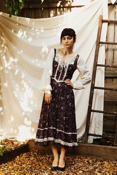 Vintage Gunne Sax Purple Floral Midi Dress by sometimesimakestuff, $55.00