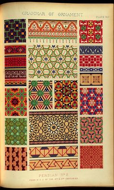 statement of responsibility: by Owen Jones; illustrated by examples from various styles of ornament. One hundred folio plates, drawn on stone by F. Textile Pattern Design, Pattern Art, Pattern Blocks, Ethnic Patterns, Vintage Patterns, Textures Patterns, Textiles, Textile Prints, Owen Jones