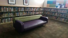 This sofa had the seat and arms redone in this purple vinyl - looking good. This guy can be sat on at Eckstrom-Columbus Library, in Tucson, Arizona. https://www.eymupholstery.com/