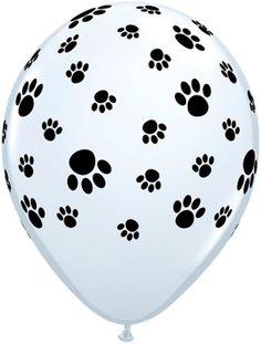 Paw Prints Around Latex Balloons