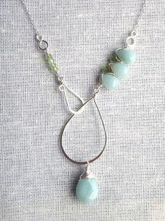 Peridot, Amazonite & Sterling Silver Lariat Necklace. $60.00, via Etsy.