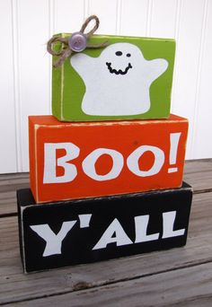 Halloween Blocks  Boo Y'all by CreeksideCreations31 on Etsy, $18.00