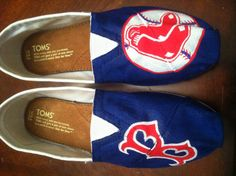 Boston Red Sox Baseball MLB Canvas Hand-Painted White TOMS Brand Women's Slip On Sneaker Shoes,  $103 via 'PersonalizedShoes' on Etsy, (View #1 of 3) ... #RedSoxFansMakeBetterLovers (cc: @soxygeologist)