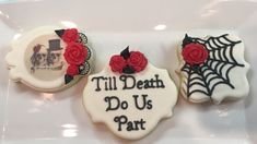 Till Death do Us Part Cookies Engagement Party Cookies, Wedding Cookies, Wedding Goals, Our Wedding, Wedding Ideas, Fantasy Wedding, Gothic Wedding, Halloween Bridal Showers, Anniversary Cookies