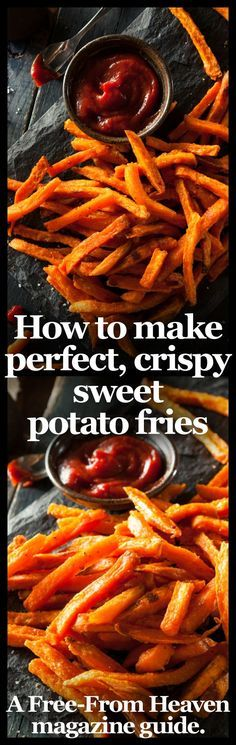 Theres no denying that sweet potato fries are one of the tastiest ways to eat these superfoods which have been named as one of the Worlds Healthiest Foods'. However if youve cooked them before youll know they can be very tricky to master and inva Think Food, I Love Food, Good Food, Yummy Food, Tasty, Crispy Sweet Potato, Sweet Potato Recipes, Vegetable Recipes, Potato Ideas