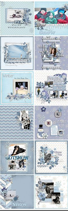 Digital Scrapbook Layouts created with Winter Frost kit