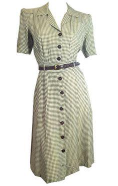 Smart Mushroom and White Rayon Day Dress circa 1940s - Dorothea's Closet Vintage