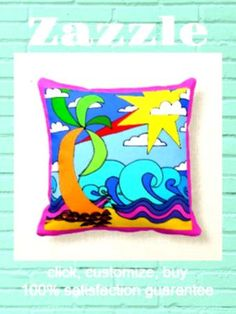 Shop At the beach, naive art drawing, pink background throw pillow created by lyricalsixties. Black Throw Pillows, Seaside Beach, Hippie Life, Naive Art, Beach Scenes, Custom Pillows, Bright Pink, Pillow Inserts, Summertime