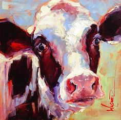 """Daily Paintworks - """"ORIGINAL CONTEMPORARY BLACK AND WHITE COW PAINTING in OILS by OLGA WAGNER"""" - Original Fine Art for Sale - © Olga Wagner"""