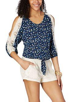 Blue Ditzy Crochet Cold Shoulder Top   rue21