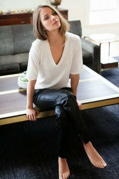 leather trousers + white tee