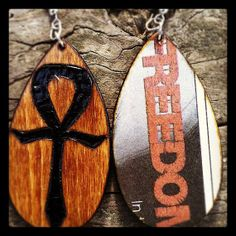 Ankh Earrings with FREEDOM graphic back by DiligentHandsWood, $15.00