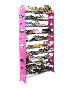 Another great find on #zulily! Pink & Silver 50-Pair Shoe Rack by home basics #zulilyfinds