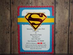 Superman Invitations, Superhero Invitations | Timberlysdesigns - Seasonal on ArtFire