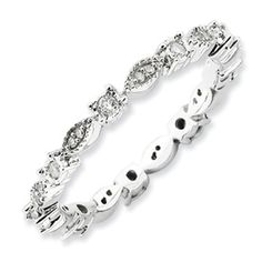 Sterling Silver Stackable Expressions Polished Diamond Ring  Style: QSK652.  Sale Price $225.  Sizes 5-6-7-8-9-10.
