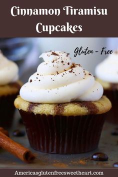 Incredibly delicious gluten free and dairy free Cinnamon Tiramisu Cupcakes. Gluten Free Cupcake Recipe, Dairy Free Keto Recipes, Gluten Free Cheesecake, Dairy Free Options, Gluten Free Cakes, Gluten Free Baking, Gluten Free Desserts, Cupcake Recipes, Dessert Recipes