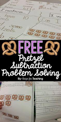 FREE Pretzel Subtraction Problem Solving.  Students use pretzels to solve an open-ended math subtraction problem.  Great subtraction fun for kindergarten!