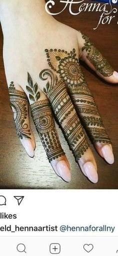 Latest Mehendi Designs for Hands & Legs - Happy Shappy Latest Mehndi Designs Hands, Finger Mehendi Designs, Rose Mehndi Designs, Henna Art Designs, Mehndi Designs For Girls, Mehndi Designs 2018, Mehndi Designs For Fingers, Mehndi Design Pictures, Mehndi Images