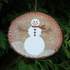 Snowman Wood Slice Ornament, snowman ornament, wood slice art, rustic ornament, woodland ornament, woodland art, snowman art