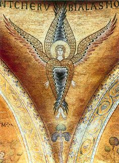 Medieval Byzantine mosaic seraph from the spandrels of the atrium, Church S.Marco, Basilica, Venice, Italy Squint your eys and look at this. Seraph Angel, Byzantine Art, Angels And Demons, Orthodox Icons, Medieval Art, Angel Art, Sacred Art, Christian Art, Kirchen
