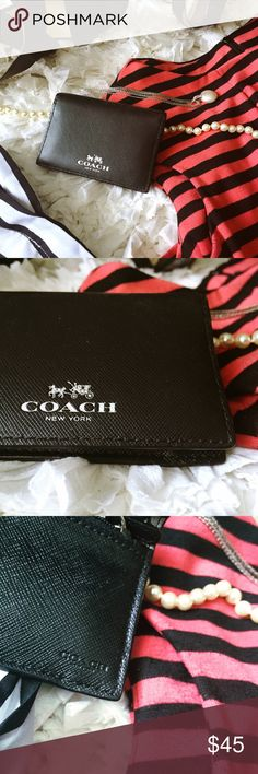 COACH WALLET DETAILS: Size OZ // Compact black leather Coach brand wallet with signature logo pattern inside // 3 card slots and 1 interior zip pocket | EUC Coach Bags Wallets