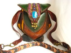 Large Leather Purse with Stone High End Tribe Fashion por Elquino