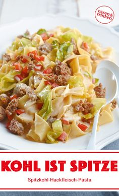 Recipe for pointed cabbage and minced meat pasta - Rezepte Fruits And Veggies, Eating Habits, Pasta Recipes, Cabbage, Clean Eating, Food And Drink, Lunch, Healthy Recipes, Cooking