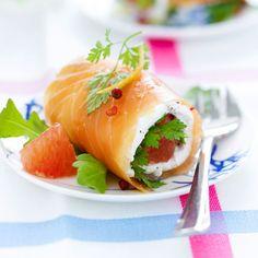 Roulés de saumon mariné aux herbes et pamplemousse