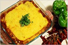 from Vegan Mexican Food - Hot Tamale Pie (Margaret) Notes:  use a 13 x 9 glass pan, add a drained small can of sliced olives, use 1 T chili powder and 1/4 tsp sea salt