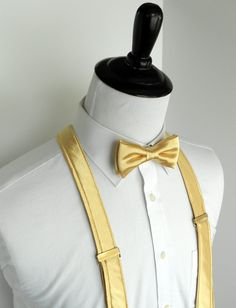 Gold Satin Bowtie and Suspenders Set - infant, toddler, boy, youth, men- 2 weeks before shipping PROM — Kellybowbelly Gold Dama Dresses, Pretty Quinceanera Dresses, Quince Dresses, Gold Tux, Gold Bow Tie, Beauty And The Beast Theme, Beauty And Beast Wedding, Bowtie And Suspenders, Royal Blue And Gold