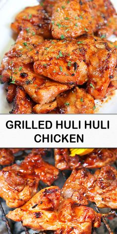 Chicken thighs marinated in brown sugar, soy sauce, ketchup, sherry, gin Grilling Recipes, Meat Recipes, Asian Recipes, Dinner Recipes, Cooking Recipes, Healthy Recipes, Recipies, Frugal Recipes, Wing Recipes