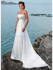 Satin A-line Strapless Dipped Neckline Wedding Dress
