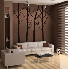 Wall Decal (I just painted my bedroom wall this color. Thinking of painting these trees on there instead of getting the decal)