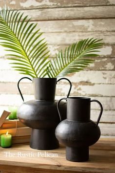 Modern-Nautical-Beach Decor-Coastal-Vase-Home-Decor-Free Shipping - The Rustic Pelican Rustic Ceramics, Modern Ceramics, Rustic Farmhouse Decor, Modern Farmhouse, Rustic Vases, Urn Vase, Metal Vase, Contemporary Home Decor, Vases Decor