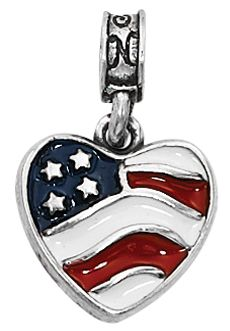 Nomades - Heart of America – This beautiful .925 sterling silver heart captures the essence of our American Flag with its red, white and blue enamel accents.