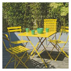 Parc   Seat Yellow Square Folding Garden Table Buy Now At Habitat Uk