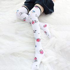 [leggycozy] Japanese Kawaii Cute Cartoon Cow Print Velvet Cosplay Over Cartoon Cow, Cute Cartoon, Cow Print, Kawaii Cute, Stockings, Velvet, Cosplay, Japanese, Legs