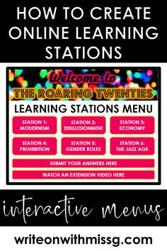 How to Structure Learning Stations Online - Write on With Miss G Teaching Technology, Educational Technology, Instructional Technology, Educational Crafts, Instructional Strategies, Online Classroom, Classroom Resources, Classroom Ideas, High School History