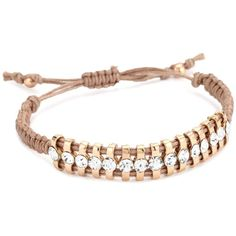 Shashi Rose Gold Plated With White Crystal And Cord Bracelet Designer Shoes