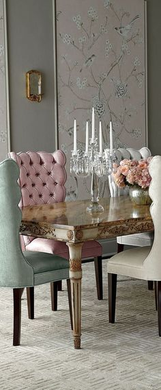 Modern Glam Decor: Find all the essentials for a polished pad where luxe classics meet fashion edge. Learn how to decorate in the modern glam style. Dining Room Bench, Dining Chairs, Dining Rooms, Ikea Dining, Small Dining, Dining Table, Ideas Hogar, Luxury Dining Room, Elegant Dining